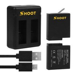 SHOOT Dual Port GoPro Hero 5 Charger with 2pcs 1220mAh Battery for GoPro Hero 5 Accessories Set