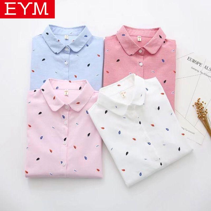 Marque EYM imprimé chemises femmes 2019 printemps nouveau femmes à manches longues Blouse bonne qualité coton Blouses hauts blancs Blusa Feminina