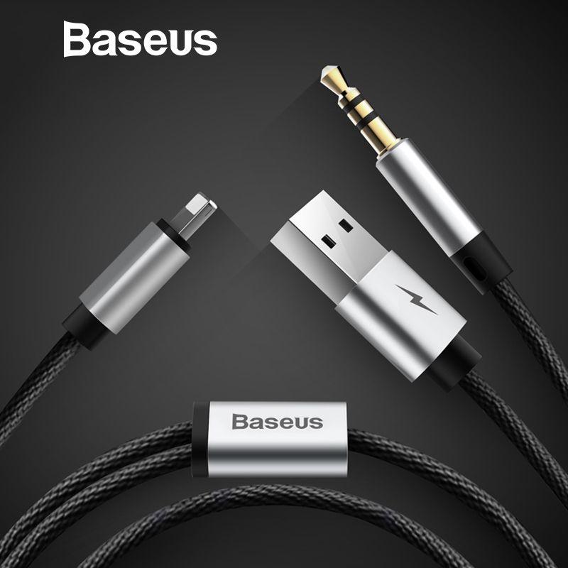 Baseus 2 in 1 Aux Audio Kabel Für iPhone Adapter splitter Für iPhone 8pin und USB zu aux jack 3,5mm für Kopfhörer Auto lautsprecher
