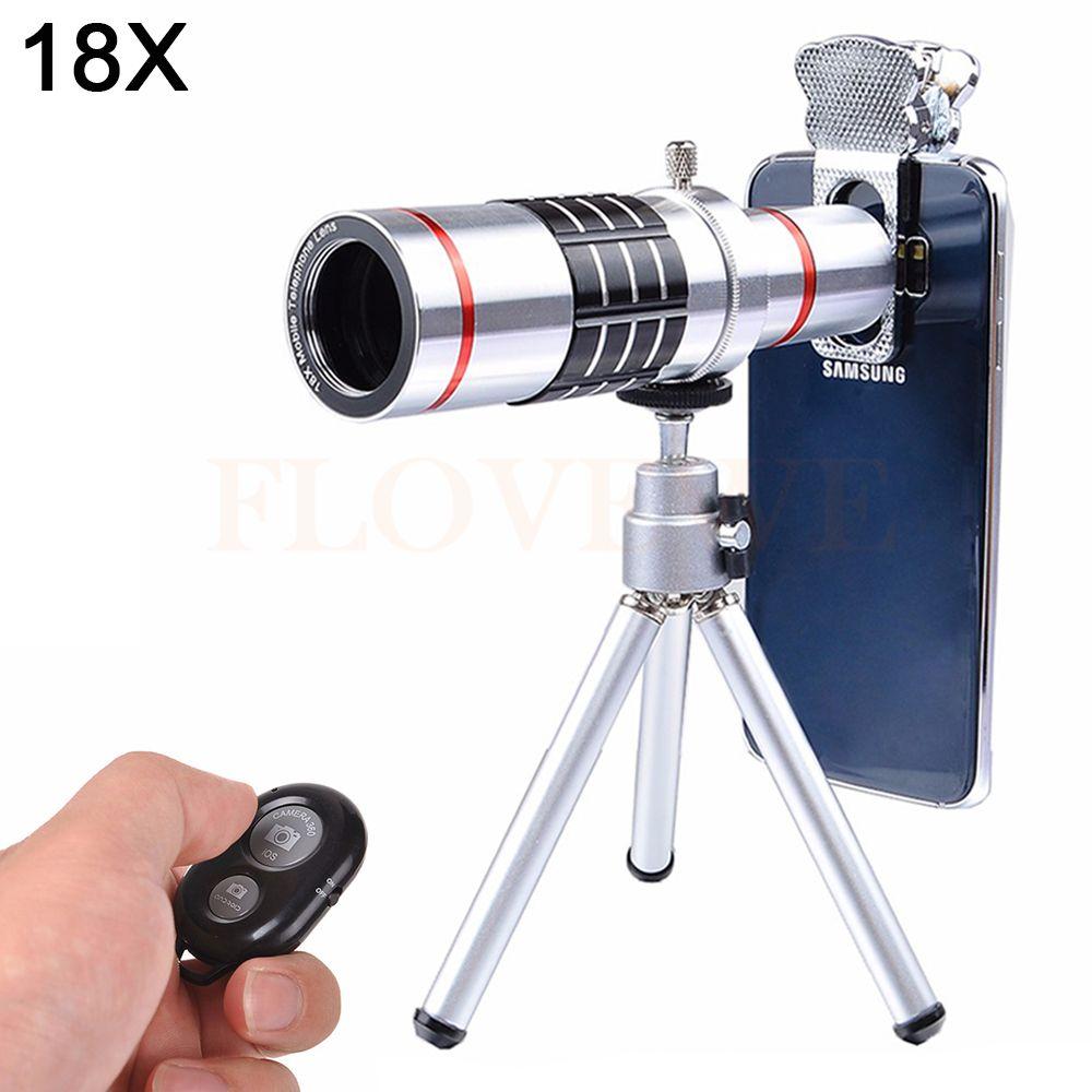 2017 HD 18X Optical Lentes Telephoto Zoom Telescope lens For mobile phone Lenses For iPhone 6 6s 7 Plus Tripod Bluetooth Shutter