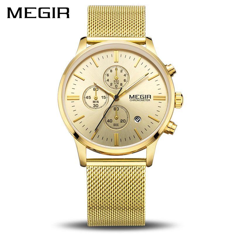 MEGIR Top Brand Luxury Watch Men Business Dress Chronograph Watches Reloj Hombre Clock Men Stainless Steel Mesh Relogio 2011