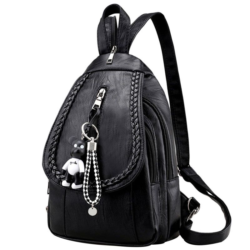 Amasie Small Black Genuine Leather Backpack Female School Bag Book Bag Cow Leather Bag Sac A Dos Bagpack for Teenages EGT9004