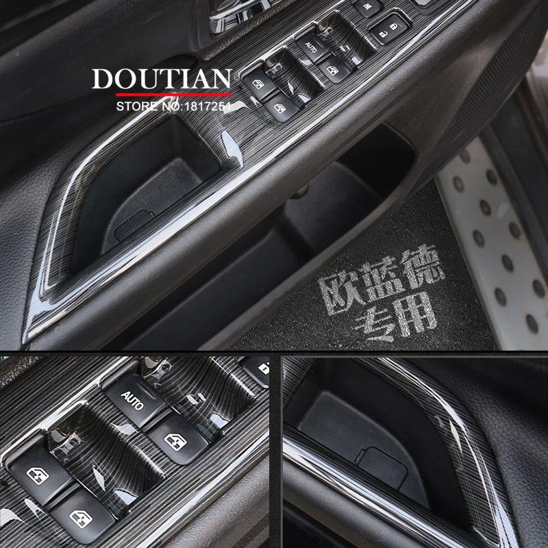 Garniture de couvercle de bouton de commutation de lève-vitre d'accoudoir de porte intérieure d'abs pour Mitsubishi Outlander 2015 2016 2017 accessoires de voiture