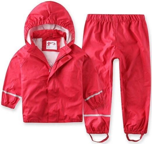 2018 Nouvelle Vente Solide Plein Enfants Vent Pluie Étanche Pu Costume Imperméable Pantalon vêtements pour bébé Et Printemps Automne Mudproof Haute- fin