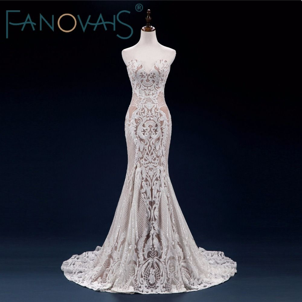 2018 Vintage Lace Mermaid Wedding Dress Turkey Vestido de Novia Sequin Lace Sheer Bridal Gowns Robe mariee Sexy Wedding Dresses