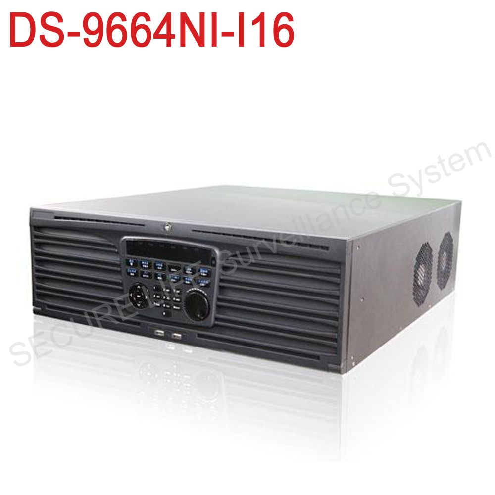 in stock DS-9664NI-I16 English version H.265 NVR 64CH Support up to 12MP camera, 16SATA for 16HDDs HMDI1 at up to 4K NVR  RAID