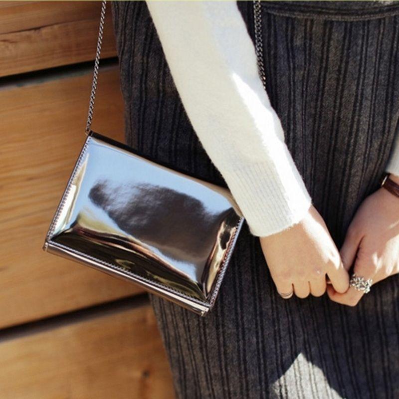 Laser Silver Mirror Women Chain Shoulder Bags Girl Patent Leather Hologram Bright Handbag Clutch Ladies Small Crossbody Flap Bag
