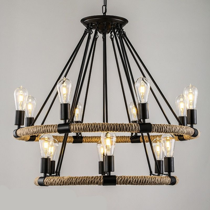 American Village Retro Rope chandelier Creative Pastoral Rustic Country Style Restaurant Bar Restoration Hardware lighting