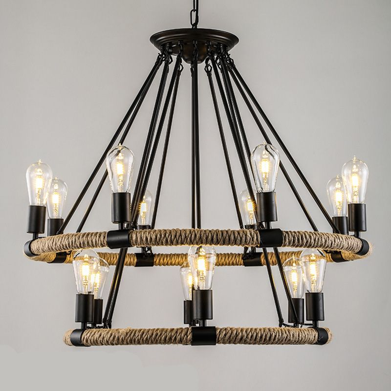 American Village Retro Rope chandelier Creative Pastoral Rustic Country Style Restaurant Bar Restoration Hardware lighting