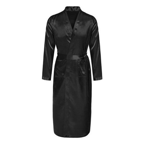 New Black  Men's Satin Rayon Robe Gown Solid Color Kimono Bath Gown Lounge Casual Male Nightgown Sleepwear Home Wear