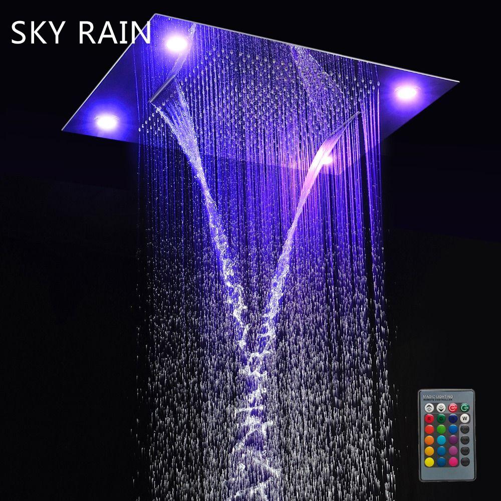 SKY REGEN Verdeckte Montiert Große Größe Multi Funktion Niederschläge Wasserfall Spray Nebel LED Dusche Kopf Set