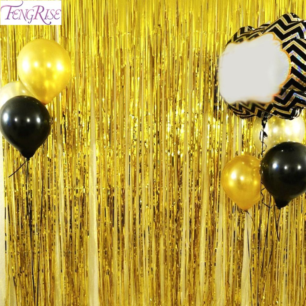 FENGRISE 1x2 Mètres Feuille D'or Frange Clinquant Rideau Gland Guirlandes De Mariage Photographie Toile de Fond de Fête D'anniversaire Décoration