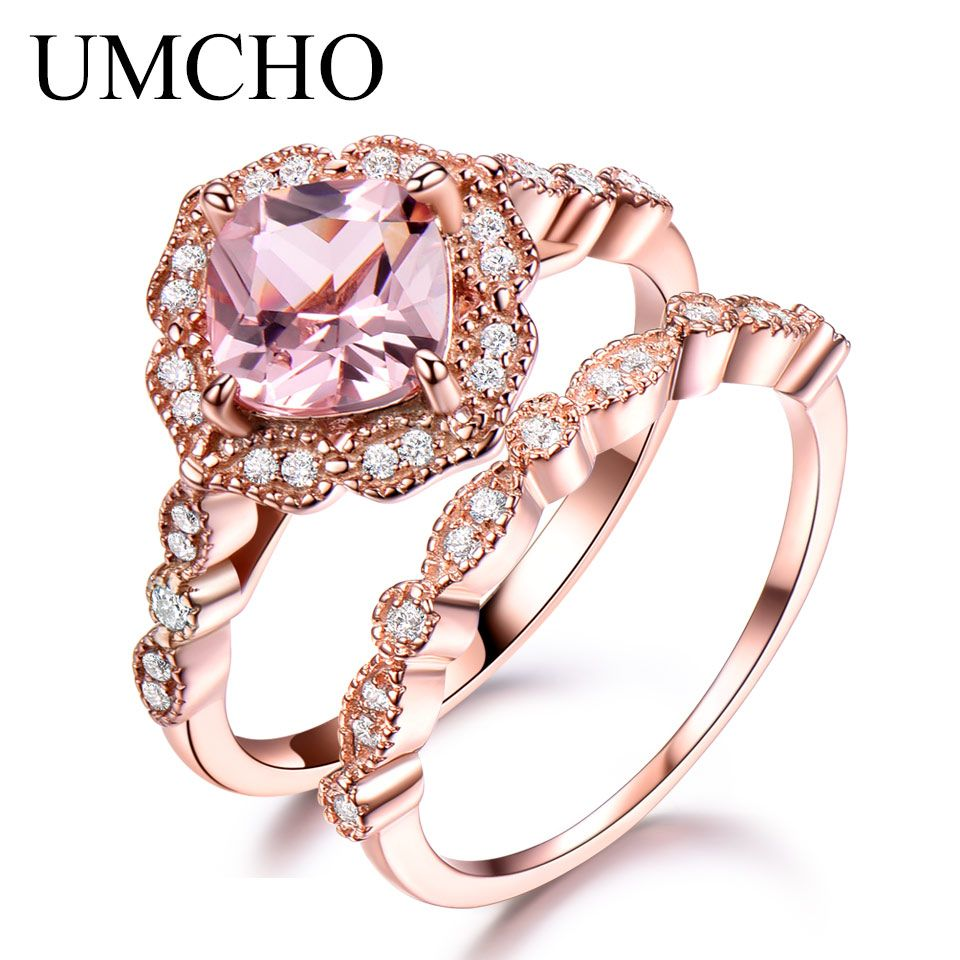 UMCHO 925 Sterling Silver Ring Set Female Morganite Engagement Wedding Band Bridal Vintage Stacking Rings For Women Fine Jewelry