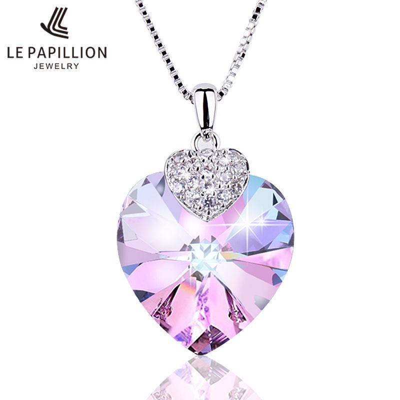 LEPAPILLION Women Necklace Fine Jewelry Heart Shape Amethyst Crystal Pendant Necklace Chain Choker Necklace Jewelry Collare Gift