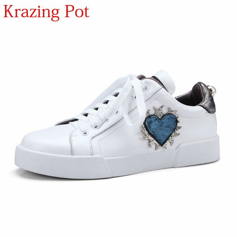 2018 Fashion Genuine Leather Lace Up Increased Casual Pregnant Round Toe Sneaker Love Patterns Causal Women Vulcanized Shoes L68