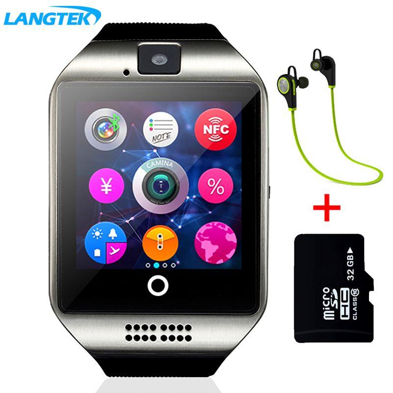Langtek Смарт-часы Сенсорный экран синхронизации Notifier Поддержка sim-карты Bluetooth Подключение для IOS телефона Android pkgv18 gt08 dz09