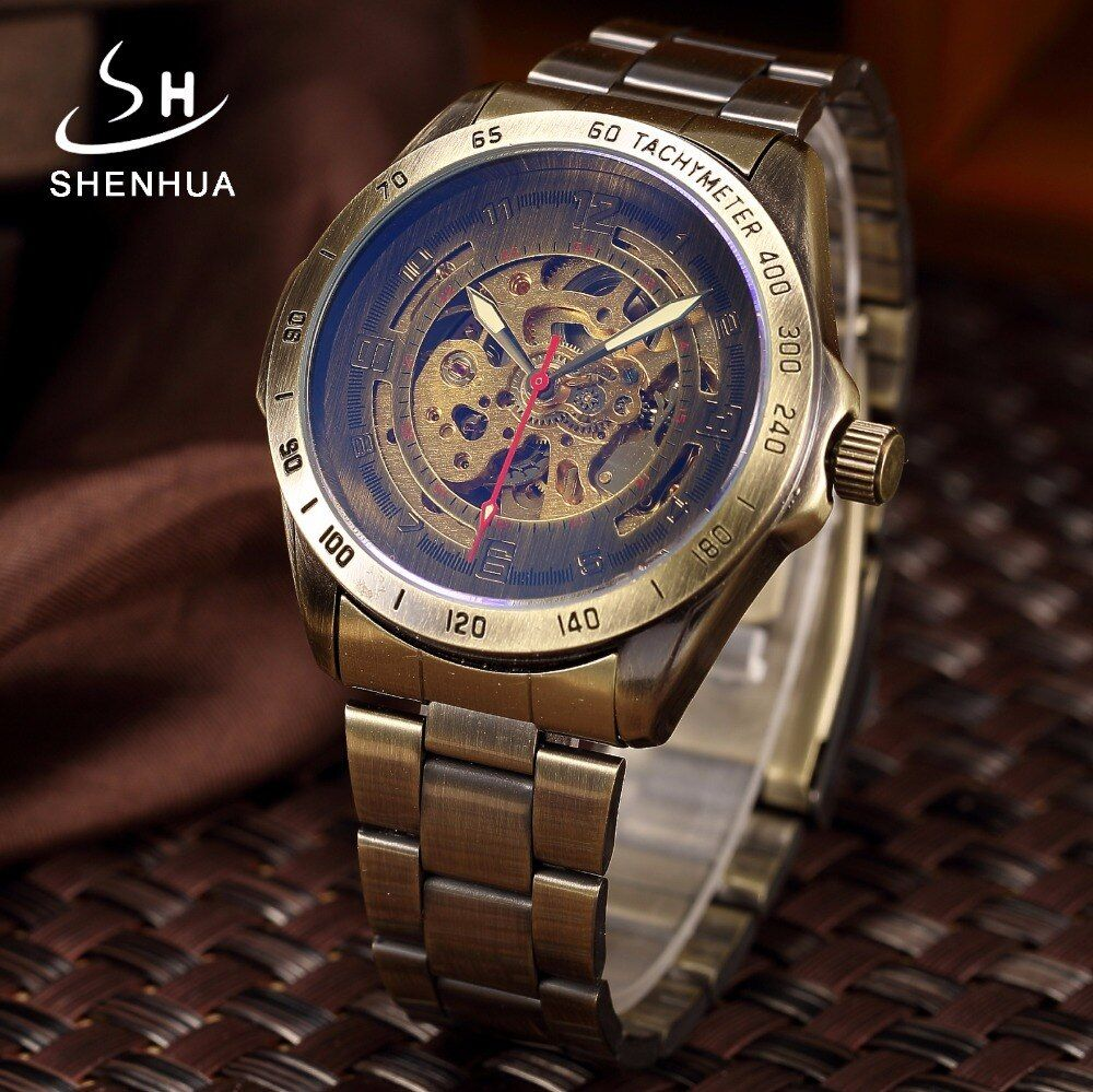 Men Bronze Metal Mechanical Automatic Skeleton Watch Men's Antique Steampunk Self Winding Wrist Watches Clock relogio Masculino