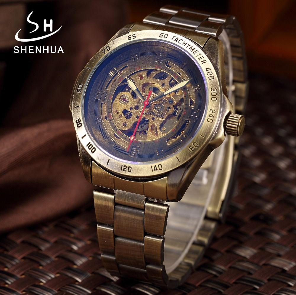 Men Bronze Metal Mechanical Automatic Skeleton Watch Men's Antique Steampunk Self Winding Male Wrist Watches Clock reloj hombre