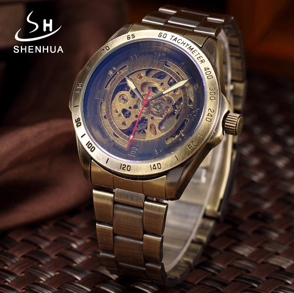 Men <font><b>Bronze</b></font> Metal Mechanical Automatic Skeleton Watch Men's Antique Steampunk Self Winding Wrist Watches Clock relogio Masculino
