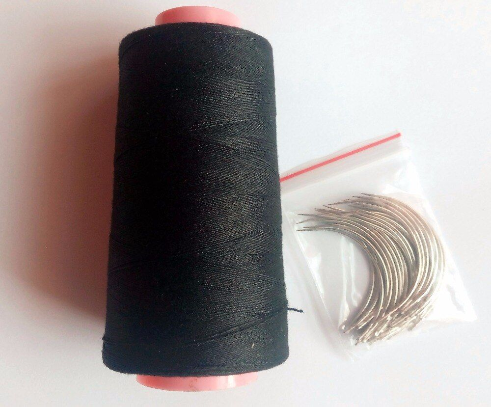24 pcs C needle with gift 1 PC Black cotton thread weave thread hair weaving thread