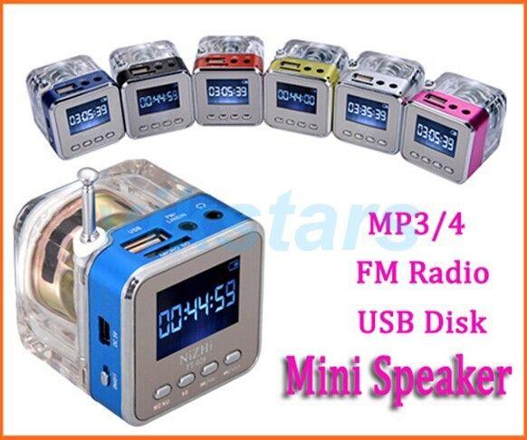 Lumière de cristal Mini haut-parleur numérique musique portable radio Micro SD/TF USB disque mp3 fm radio LCD affichage haut-parleur radio horloge RDA028