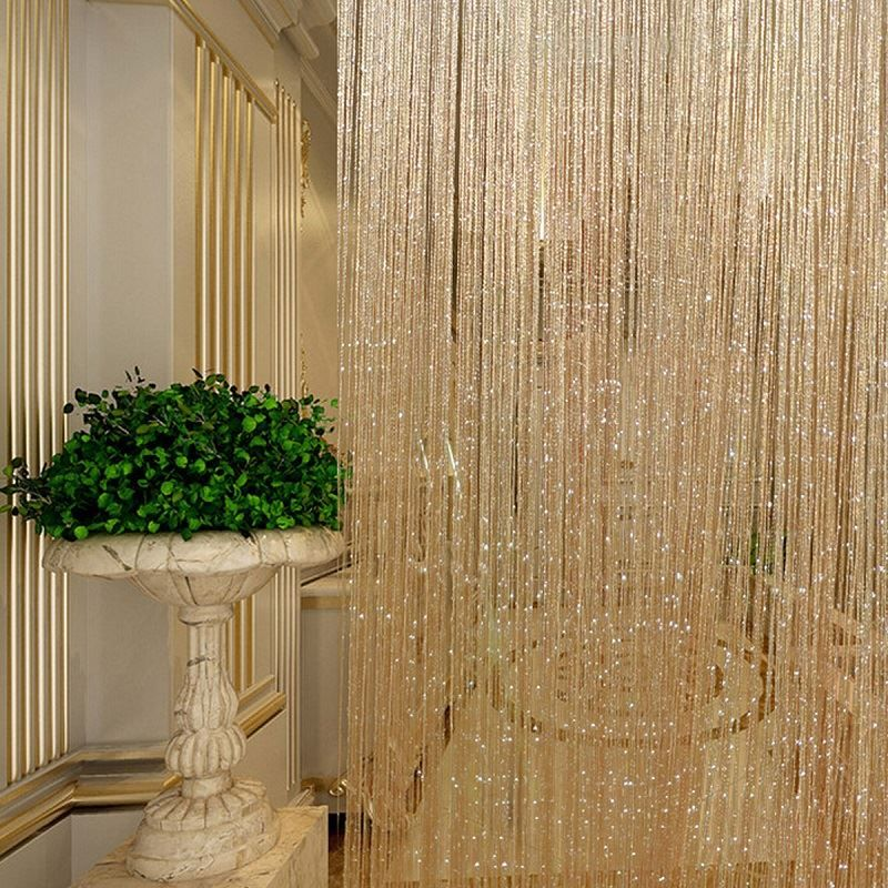 Gland Glitter Rideaux Chaîne Champagne pour Salon Fenêtre Porte De Douche Rideau Diviseur Panneaux Écran Drapé Décoration