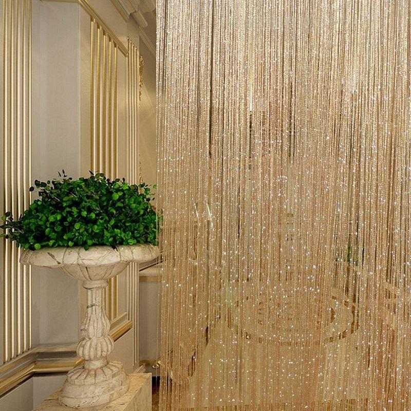 Gland paillettes rideaux chaîne Champagne pour salon fenêtre porte douche rideau diviseur panneaux écran drapé décoration