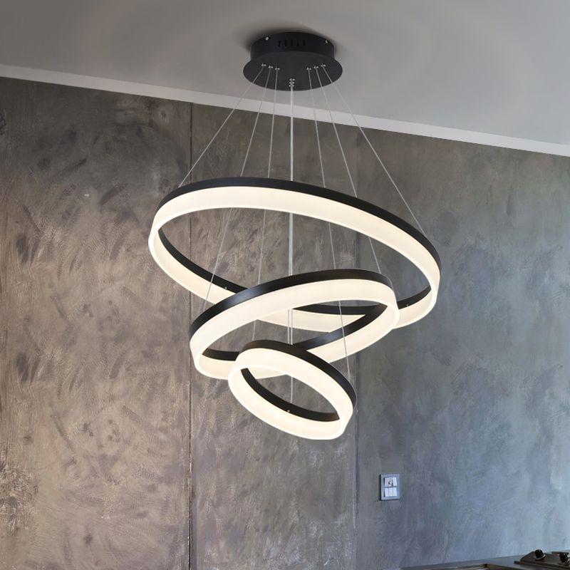 Moderne esszimmer pendelleuchte pendelleuchten leuchte suspendu kreis ringe pendelleuchte leuchten de techo colgante