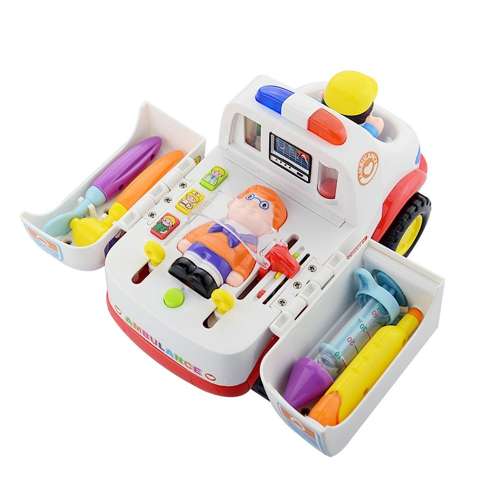 Children Ambulance Doctor Vehicle Car with Lights and Music Plastic Simulation Toys Ambulance Car Electric Pretend Doctor Set