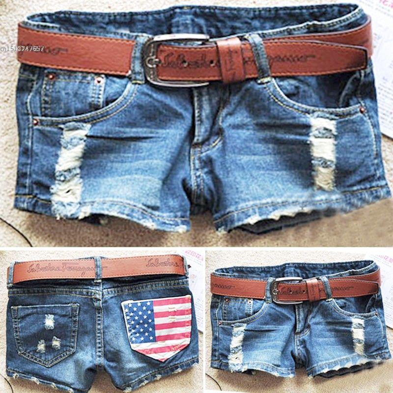 2018 New Hot-selling Fashion Stars Stripes US Flag Classical Summer Denim women hole shorts Jeans 51