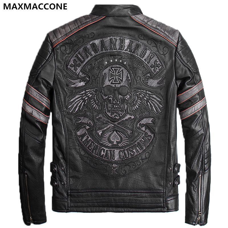 2018 Vintage Black Genuine Leather Mens Jacket Skull Embroidery Pattern Plus Size XXXL Genuine Cowhide Biker Coat FREE SHIPPING