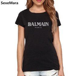 BALMAIN PARIS T-shirt avant Lettre Imprimer Mode Femmes Hommes Coton Casual T-shirts Drôles