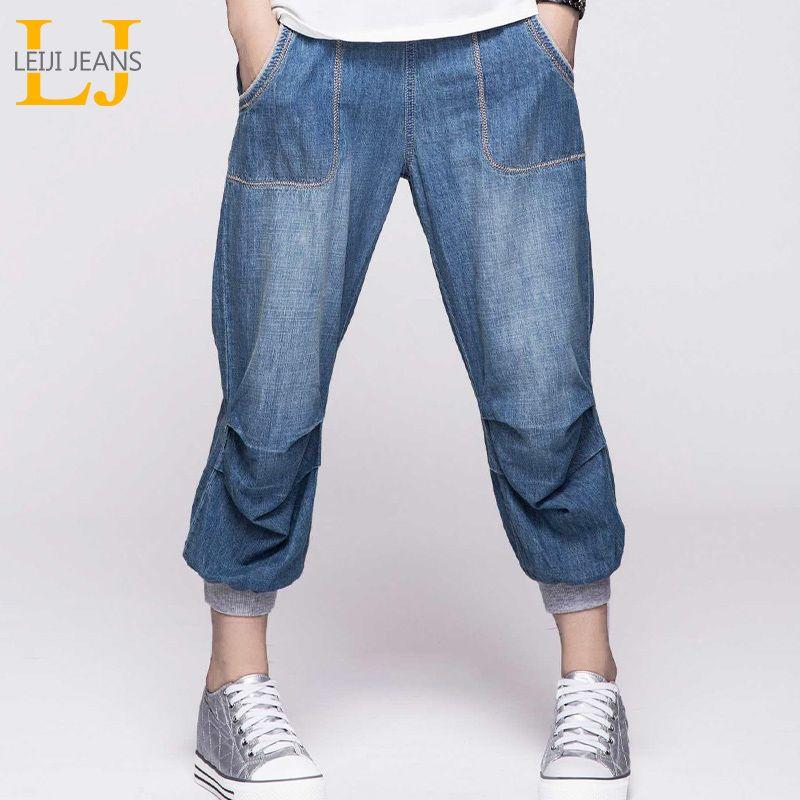 LEIJIJEANS D'été Plus La Taille capri jeans Blanchis Élastique Taille Lumière Lavage Veau Longueur Coton Femmes Lâche Stretch Harem Jeans