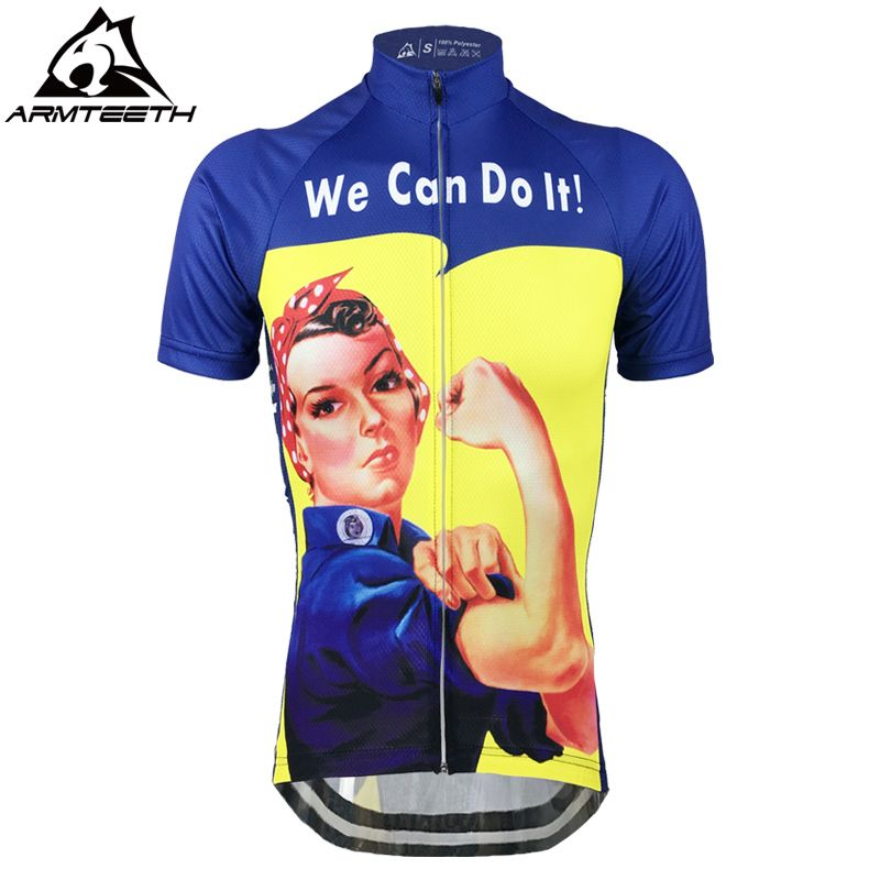 Лидер продаж мы можем сделать это дышащий Велоспорт женские Джерси MTB Рубашки для мальчиков анти-пот Велосипедный Спорт Костюмы быстросохн...