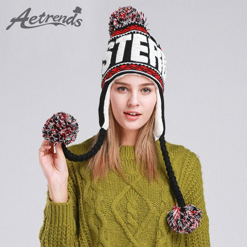 [AETRENDS] Nuevo Diseñador de Moda Gorros de Invierno con Las Orejas Calientes de La Gorrita Tejida Sombreros con Bola Superior Z-1355