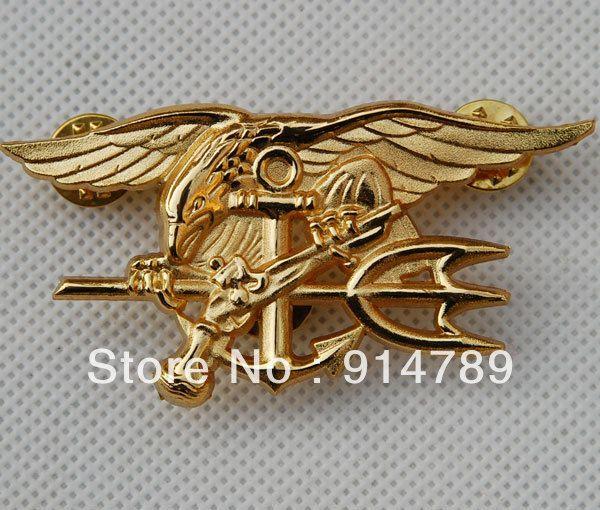 US marine sceau aigle ancre TRIDENT insigne en métal or-32442