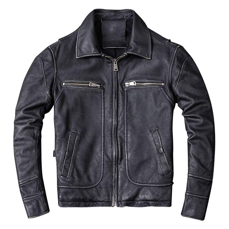 HARLEY DAMSON Vintage Black Men Genuine Biker's Leather Jacket Plus Size XXXXL Thick Cowhide Autumn Russian Motorcycle Coat