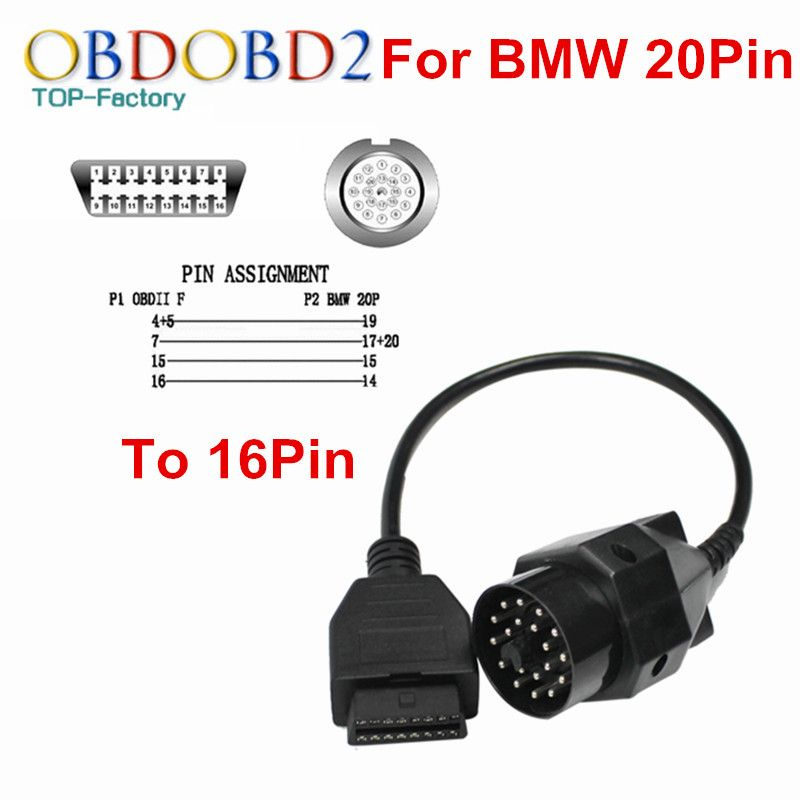 Quality A+++ For BMW 20Pin Cable Connector Diagnosis OBD 20 Pin to OBD2 16 Pin Connector Adapter Cable For BMW