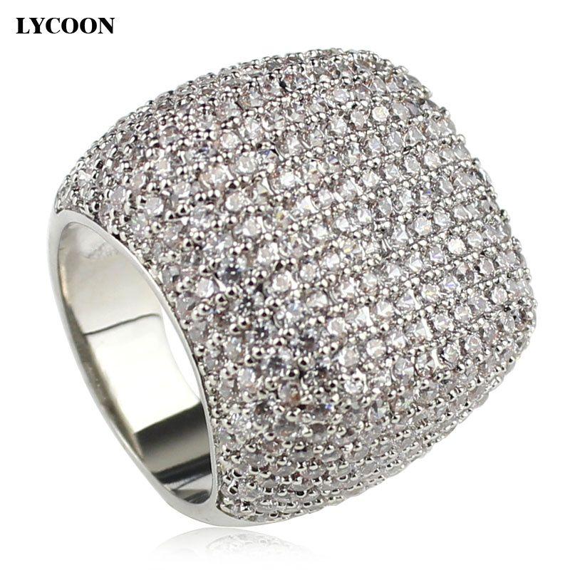LYCOON élégant anneau carré plaqué argent incrusté zircon cubique de luxe anneaux de mariage femme gracieuse bagues de fiançailles