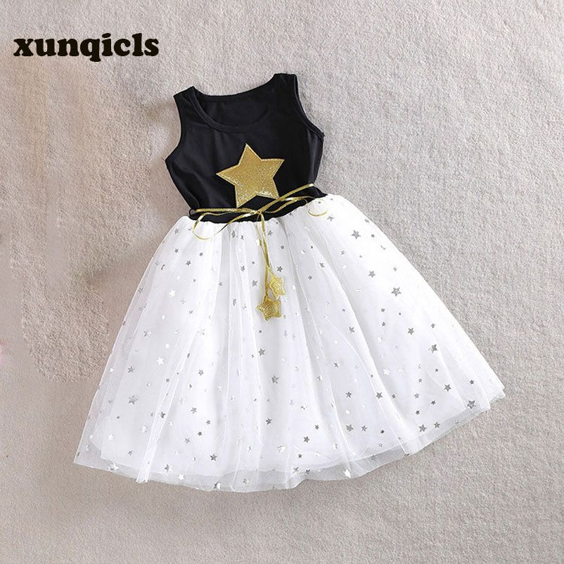 Xunqicls 3-10Y Bébé Filles Paillettes Robe Étoiles Imprimé avec Ceinture Sans Manches Princesse Kids Party Robes
