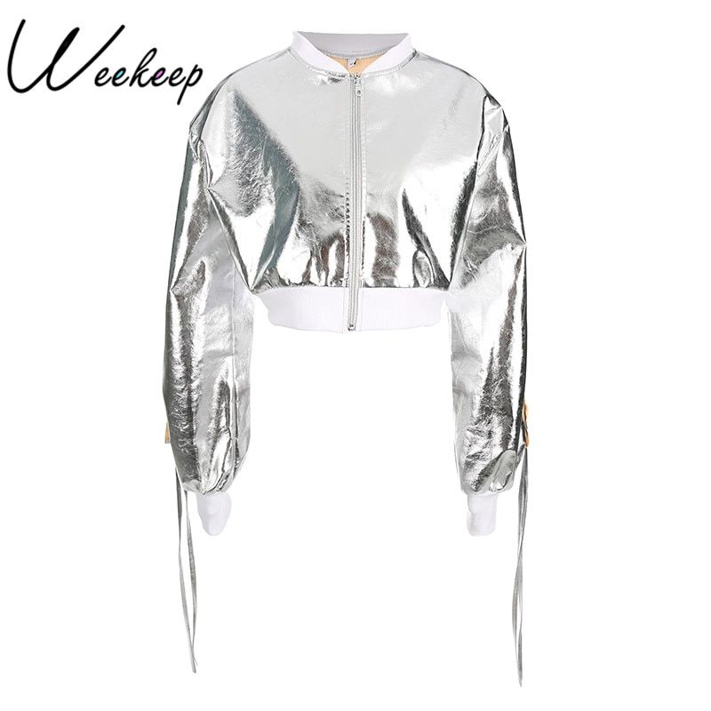Weekeep Fashion Long Sleeve Woman Jacket 2017 Autumn Coat for Women Silver Solid Female Bomb Jaket Zipper O-Neck Casual Coat