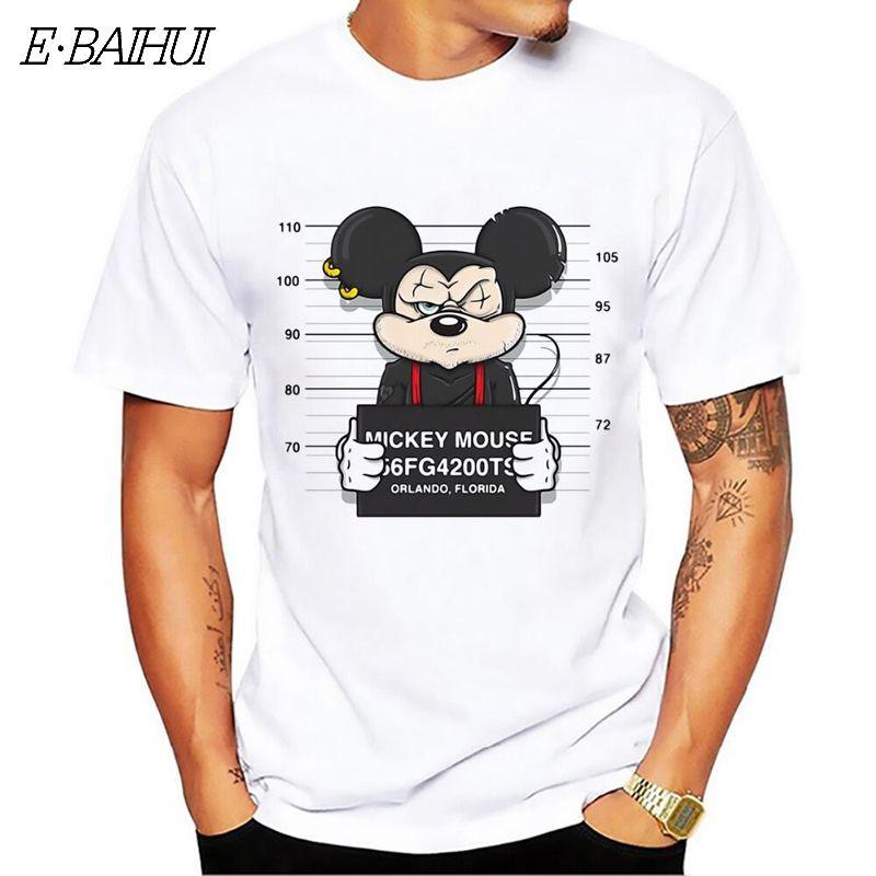 E-BAIHUI nouveau mickey imprimer t-shirts souris t-shirt hommes hauts hip hop décontracté drôle chien de bande dessinée t-shirt homme confort coton t chemise CG001