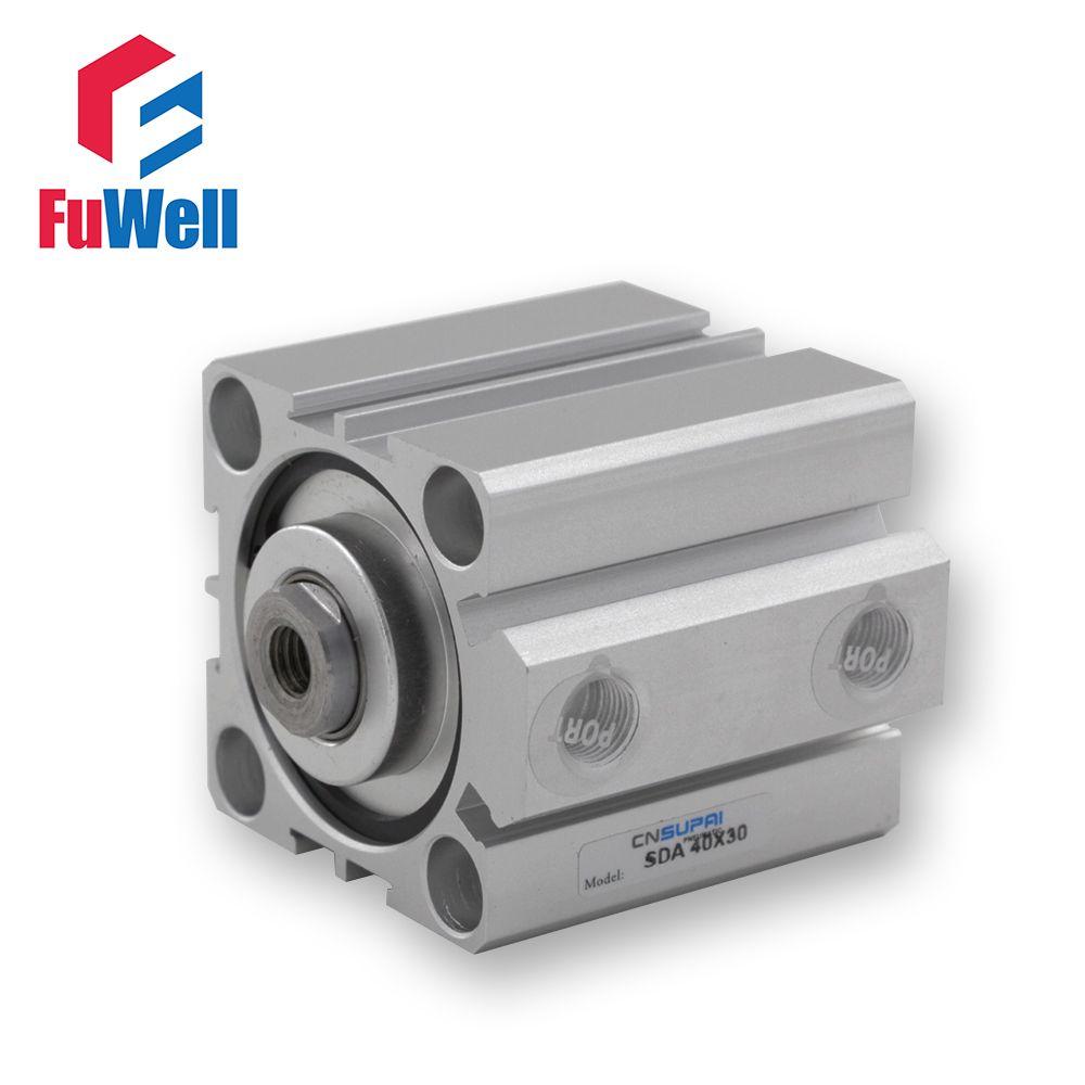 Cylindre pneumatique de Type SDA 40mm alésage 5/10/15/20/25/30/40/50mm cylindre d'air à Double Action en alliage d'aluminium