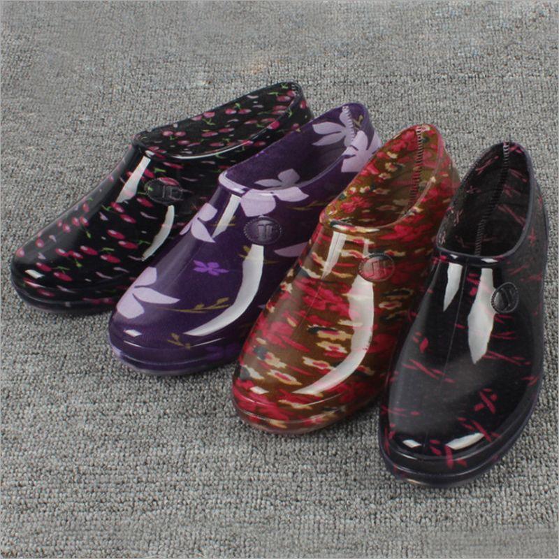 Новинка 2017 года низкая для Rain Обувь насос Для женщин короткие водонепроницаемая обувь женские Ботильоны
