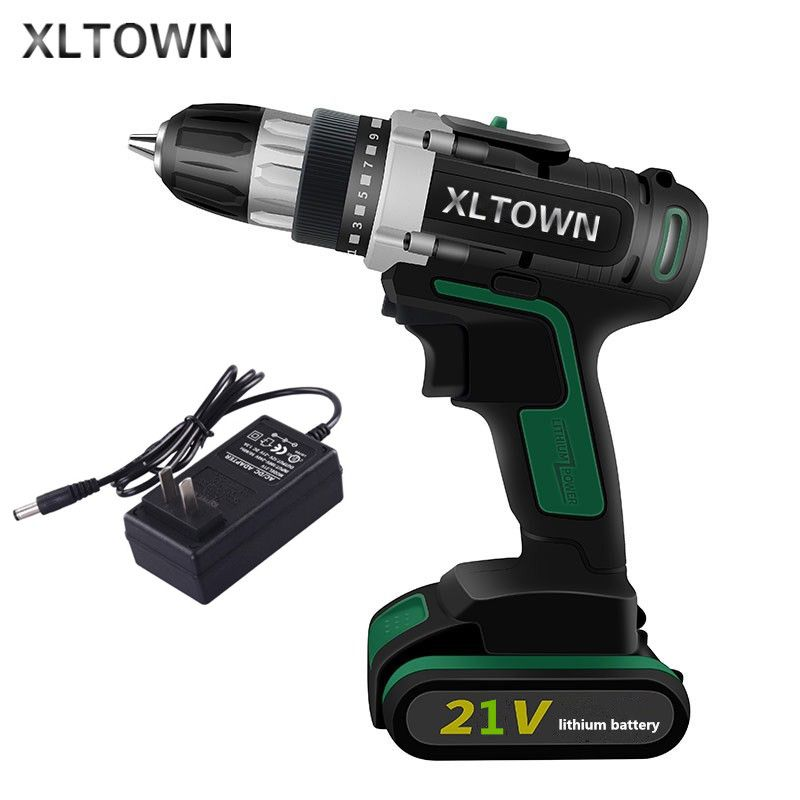 XLTOWN 21V Cordless Electric Drill Lithium Battery Rechargeable Two-Speed Electric Screwdriver Multi-function  Electric Drill