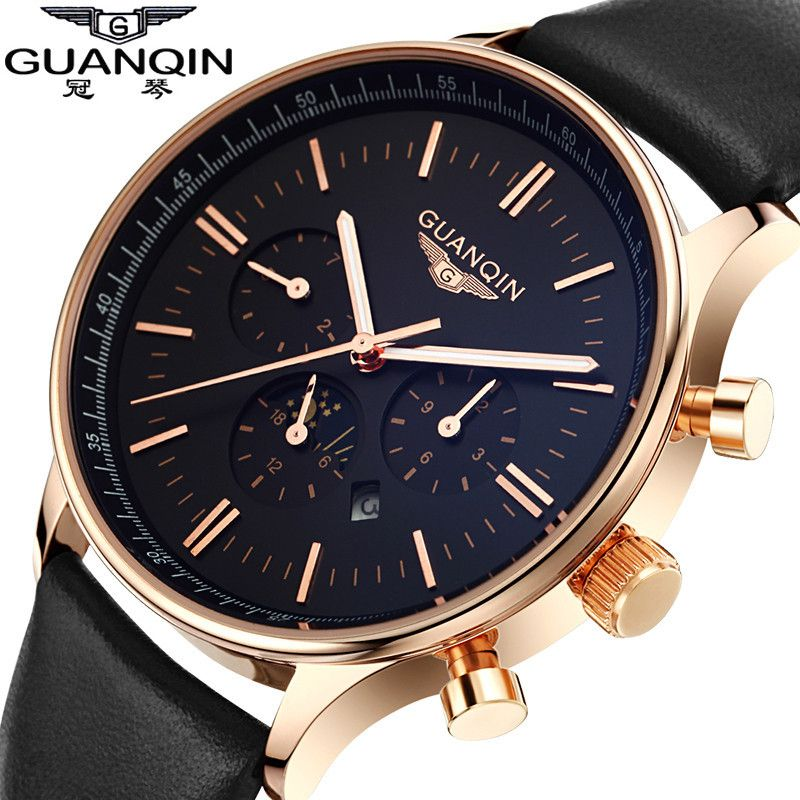 Men Watch Top Brand Luxury GUANQIN Fashion Casual Sport Waterproof <font><b>Quartz</b></font>-Watch Genuine Leather Watchband Relogio Masculino 2016