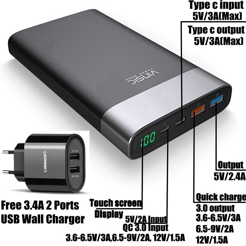 Vinsic Quick Charge 3.0 20000mah Power Bank QC 3.0 Type C with 3.4A USB Charger for iPhone iPad Xiaomi Mi5 Nexus 5X 6P Huawei
