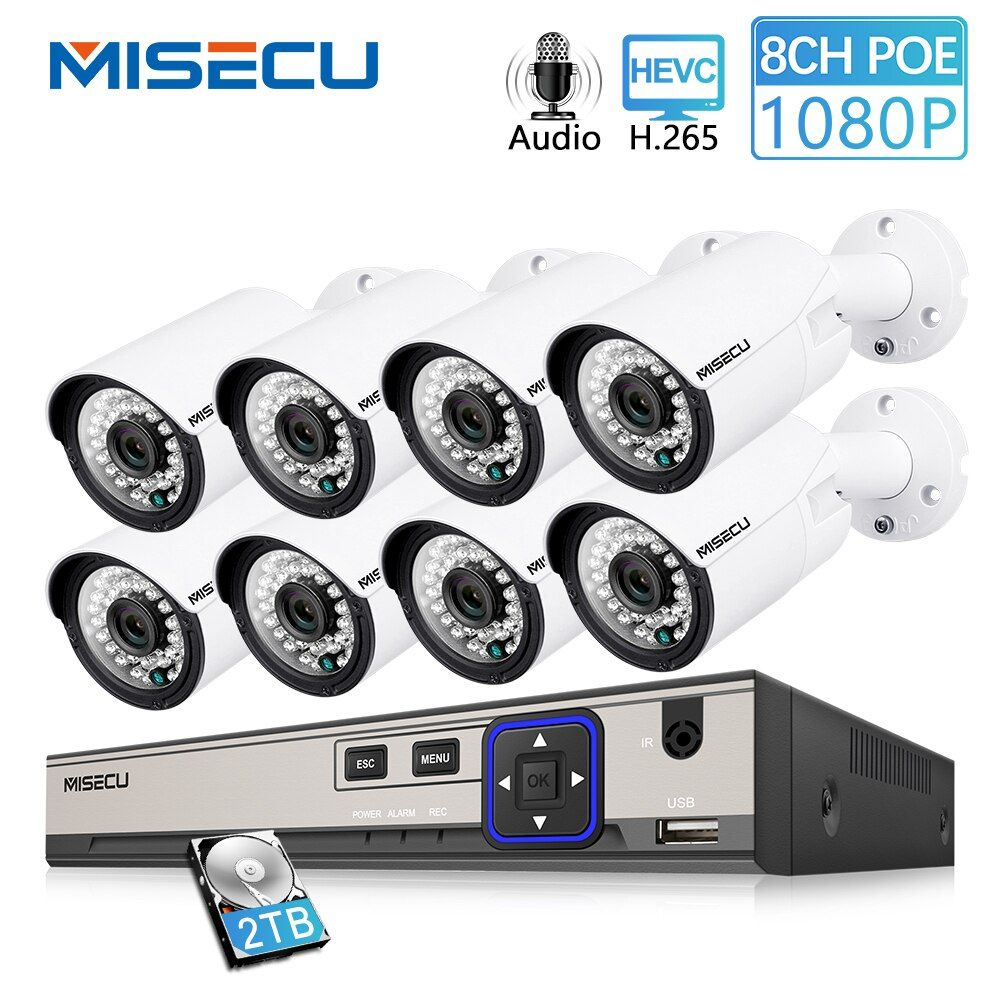 MISECU 8CH 1080P CCTV Camera System Audio Record 2MP Bullet PoE IP Camera Waterproof Outdoor Night Vision Video Surveillance Kit