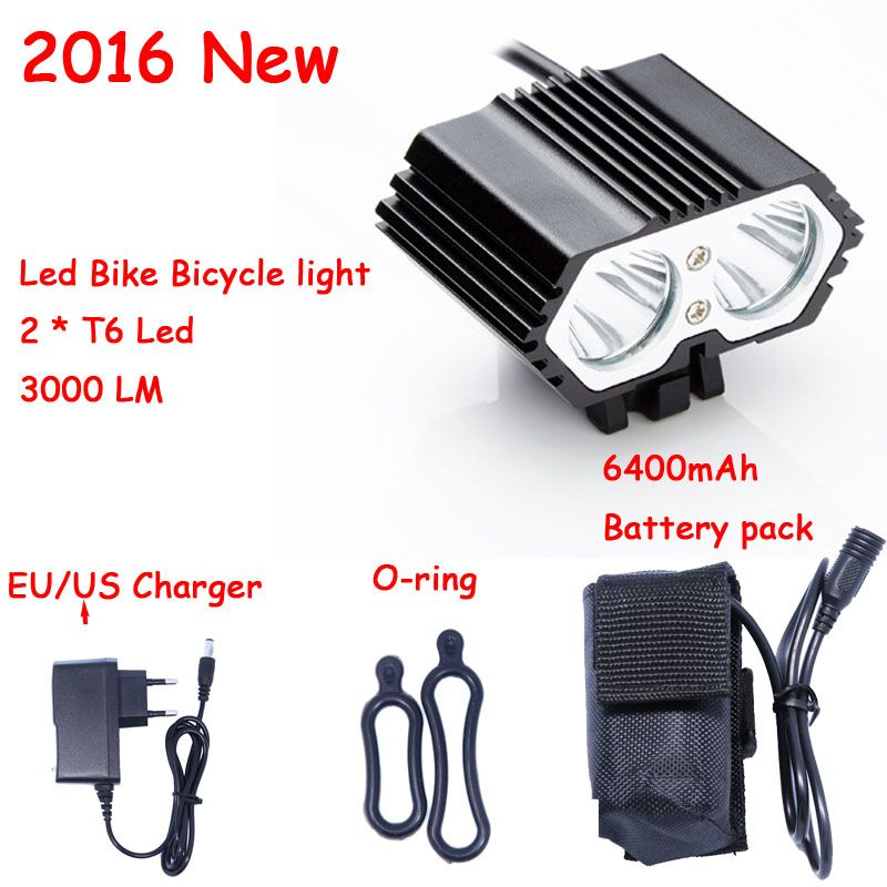 2016 New 3000 Lumens 2 x XM-LT6 LED Cycling Bike Bicycle Light Head front Lights flash light Lamp + 18650 Battery Pack + Charger