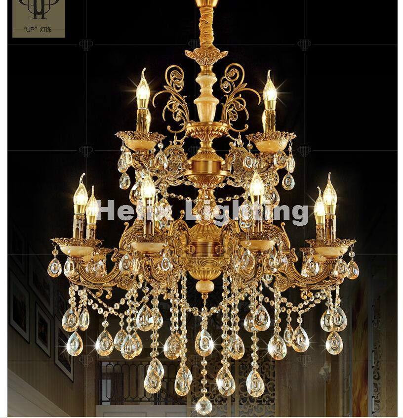 Brass Color European E14 Crystal Chandelier Living Room lustres Decoration Pendants AC Chandeliers Crystal Home Indoor Lighting